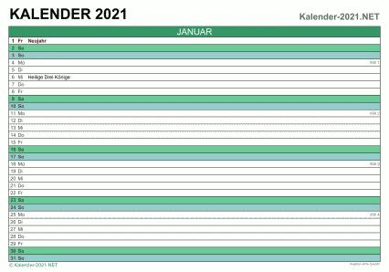Excel Kalender 2021 Kostenlos